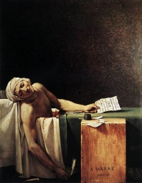 "The Death of Marat (1793) by Jacques-Louis David (who was the offical artist of France after the Revolution)  ""All efforts to render politics aesthetic culminate in one thing: war"" --Walter Benjamin"