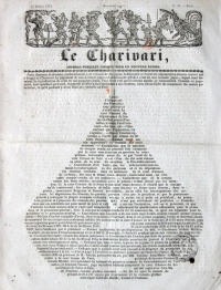 "The so-called ""Typographic pear"", a calligramme which was published on the cover of Le Charivari of February 27, 1834, subverting the magazine's obligation to publish the condemnation by presenting the text in the form of a pear."
