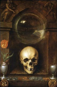 This page Memento mori is part of the death series. Illustration: Vanitas (1603) by Jaques de Gheyn II