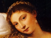 Venus of Urbino (1538, detail) by Titian. The frankness of Venus' expression is often noted; she makes direct eye contact with the viewer
