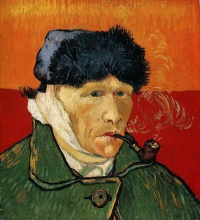 Self-Portrait with Bandaged Ear and Pipe (1889) by Vincent van Gogh  Van Gogh struggled with poverty and mental illness for most of his life is regarded as a famous example of the tortured artist.