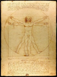 Vitruvian Man by Leonardo da Vinci, see man is the measure of all things.
