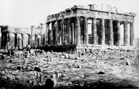 1872 photograph of the western face of the Greek Parthenon