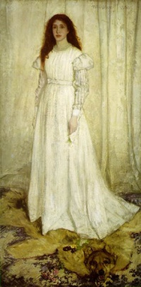 James Whistler's painting Symphony in White, No. 1: The White Girl (1862) caused controversy when exhibited in London and, later, at the Salon des Refusés in Paris. The painting epitomizes his theory that art should essentially be concerned with the beautiful arrangement of colors in harmony, not with the accurate portrayal of the natural world.
