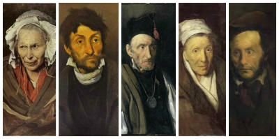 The monomanies series by Géricault (1821-24) by  Théodore Géricault. From left to right: Portrait of a Woman Suffering from Obsessive Envy, A Kleptomaniac, Military Obsessive, Monomaniac of Gambling and Monomania of Child Kidnapping