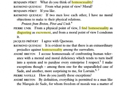 Surrealist Discussions 1928-1932, page 5, an illustration of many Surrealists', and especially Breton's apparent homophobia. This excerpt from the first session on January 27, 1928.